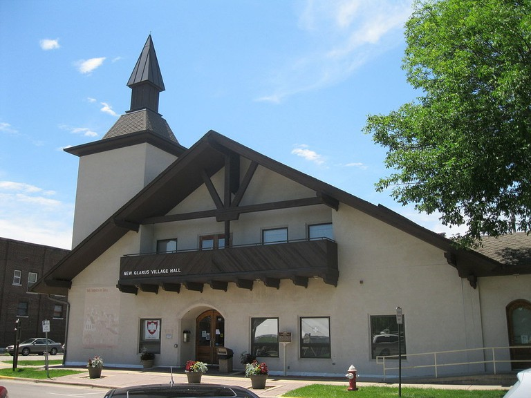 The architecture in New Glarus, WI is directly inspired by buildings in Switzerland.