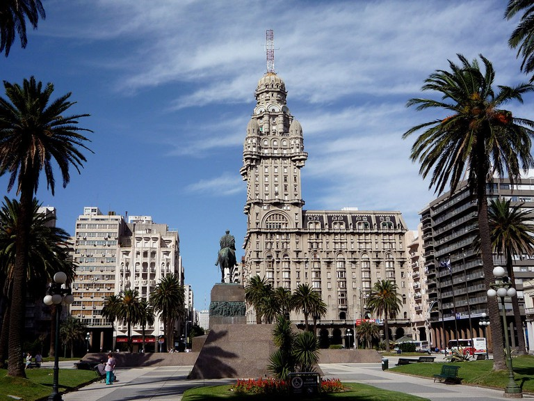 Plaza Independencia is surrounded by majestic buildings