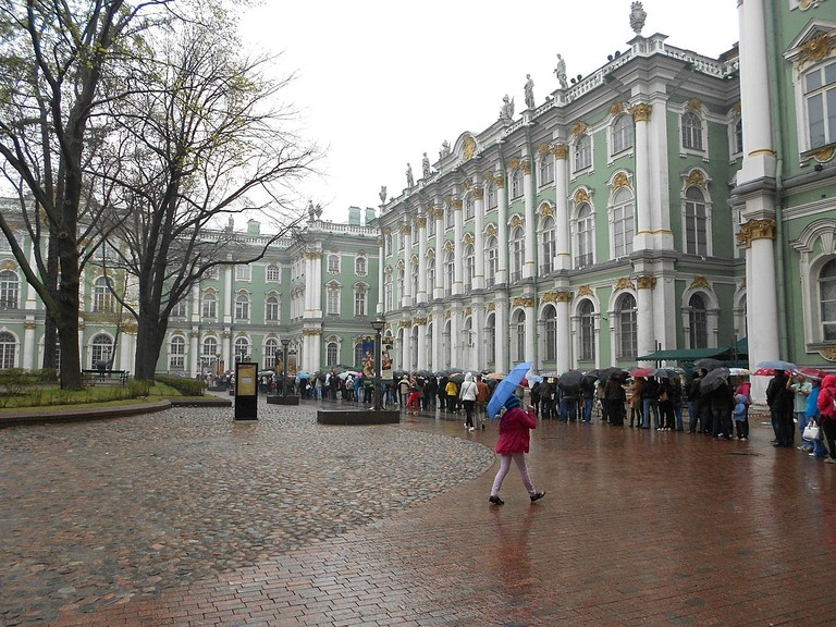 A queue outside The Hermitage Museum