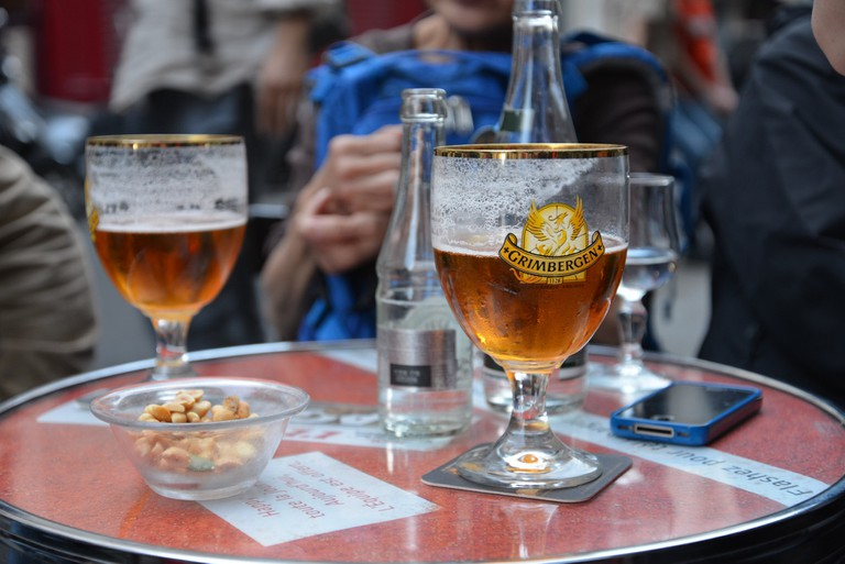 A Belgian beer on a terrace table