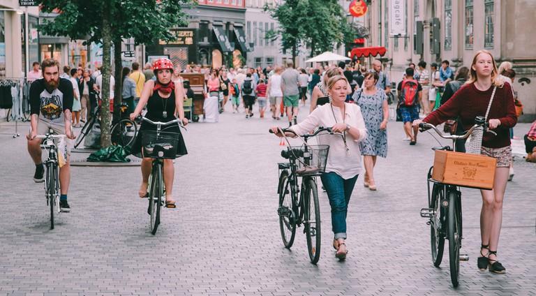 biking Copenhagen Strøget,