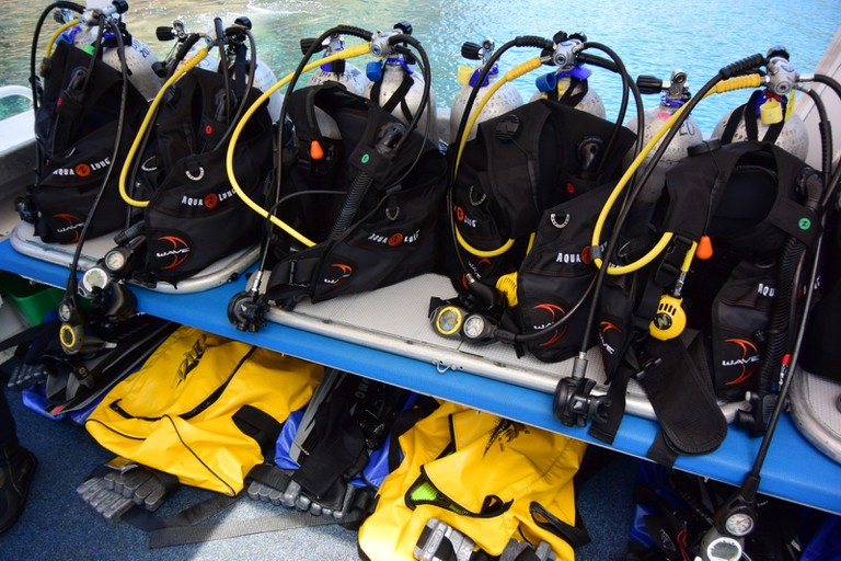 Diving equipment on a vessel heading to Poor Knights Island, New Zealand