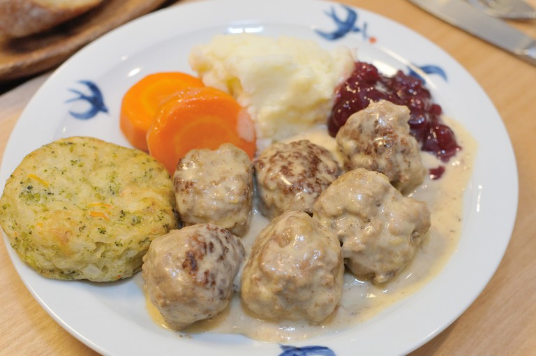 Traditional Swedish meatballs with gravy and lingonberry sauce