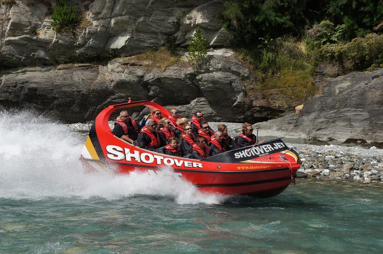 Shotover Jet boat in Queenstown, New Zealand