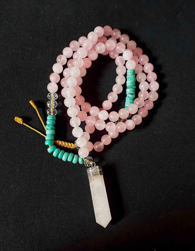 Rose quartz, turquoise and crystal mala necklace