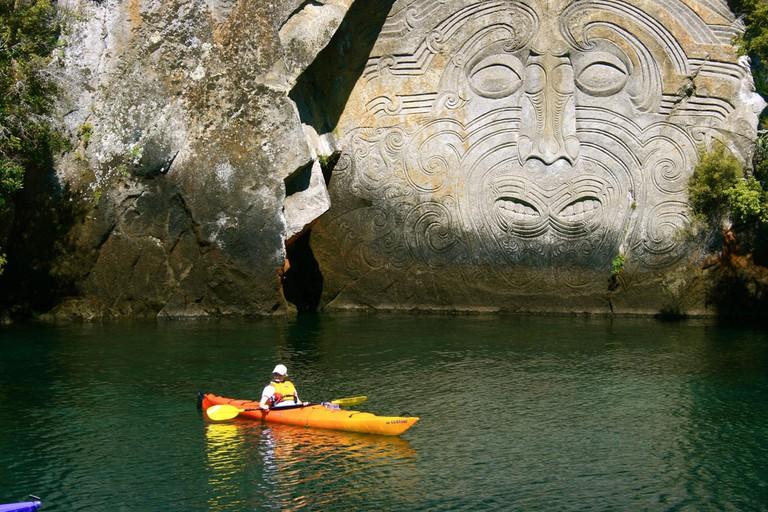 Kayak trip on Lake Taupo, New Zealand