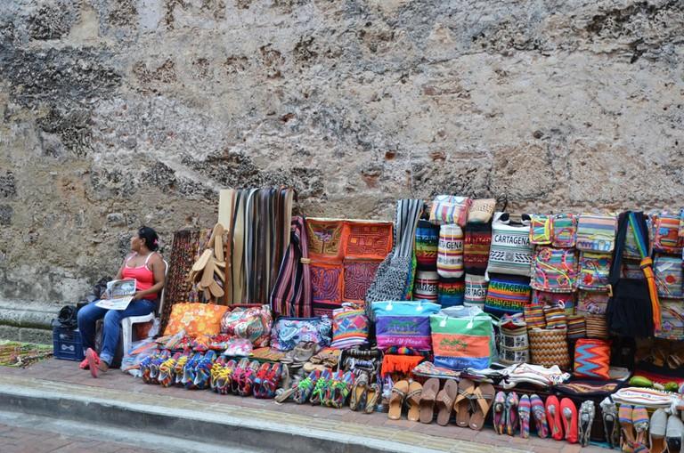 Street seller in Cartagena's Walled City