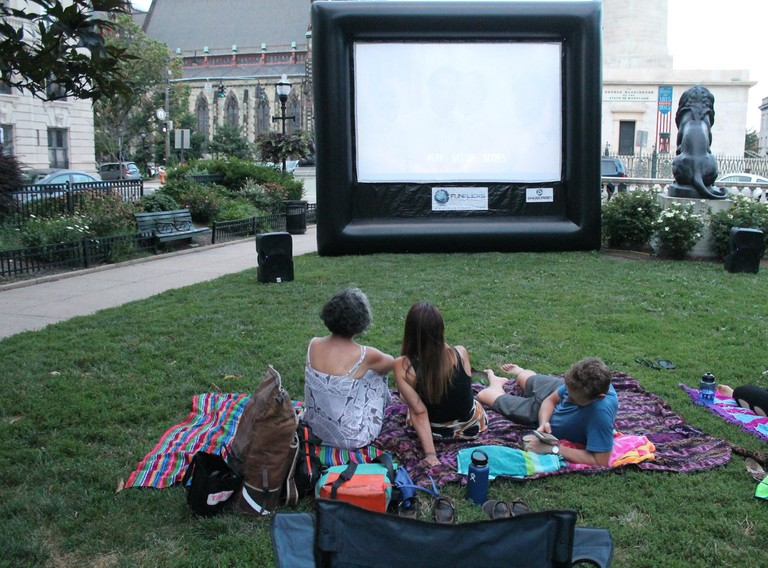 Movie night, Summer in the Squares, East Square, Mount Vernon, Baltimore, Maryland