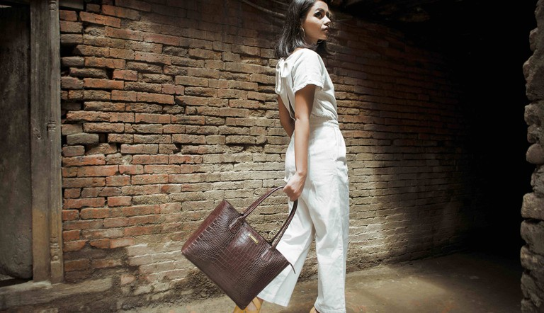 Tissah's leather bag