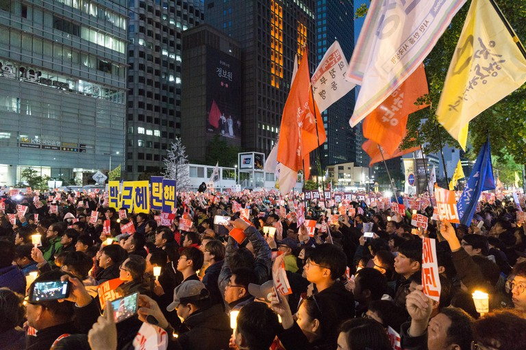 Protesters gather in Seoul's Cheonggye Plaza in an effort to impeach Park Geun-hye