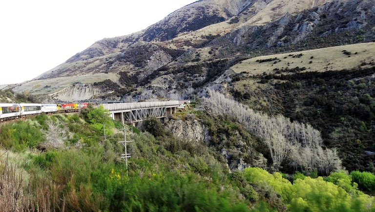 The TranzAlpine passenger train crossing river gorge as it climbs across the Southern Alps