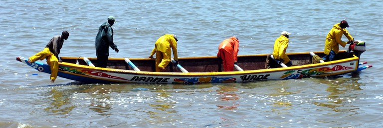 Modern-day Senegalese fisherman in a pirogue
