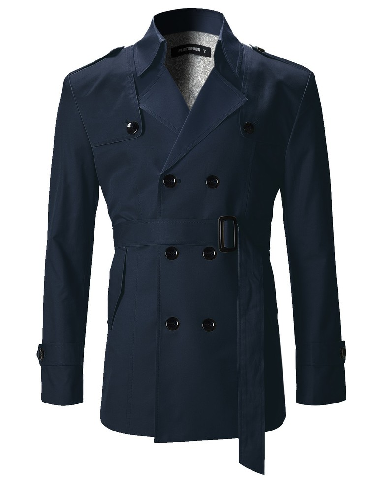 A navy blue trench coat is a versatile and stylish option for spring, summer, and fall.