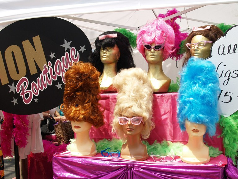wigs, glasses, beehive hairdo, hampden, honfest, baltimore, maryland