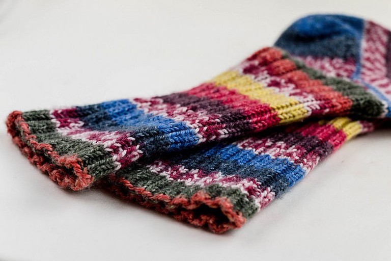 A pair of colorful knitted socks