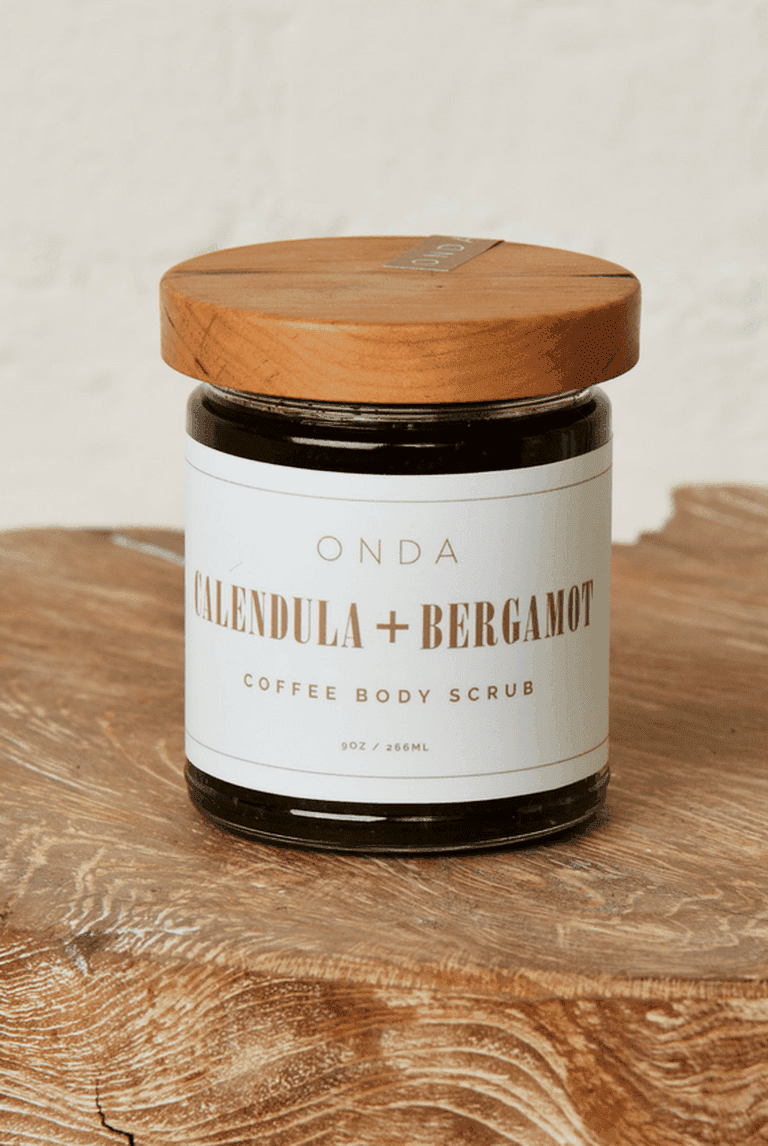 Limited edition ONDA's own calendula and coffee body scrub, locally made in the Hudson Valley