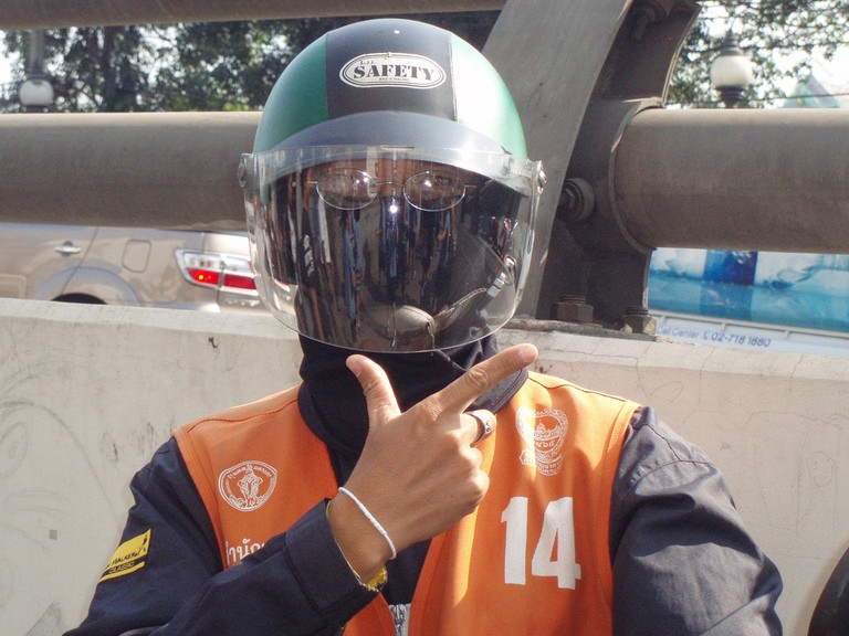Motorbike taxi driver in Thailand