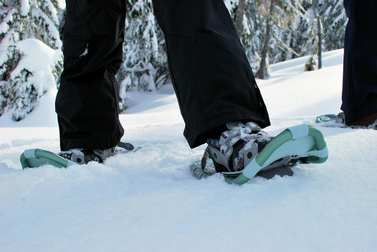 Snowshoes used for snowshoe football