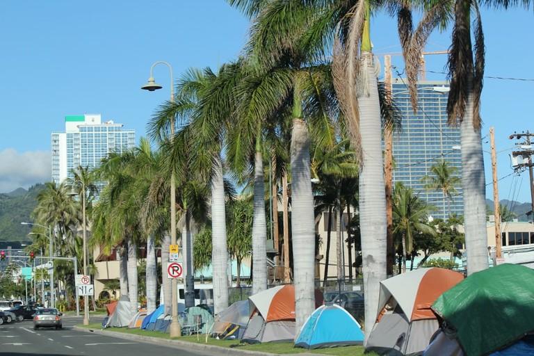 Homeless camp on O'ahu | © Joel Achatz/Flickr