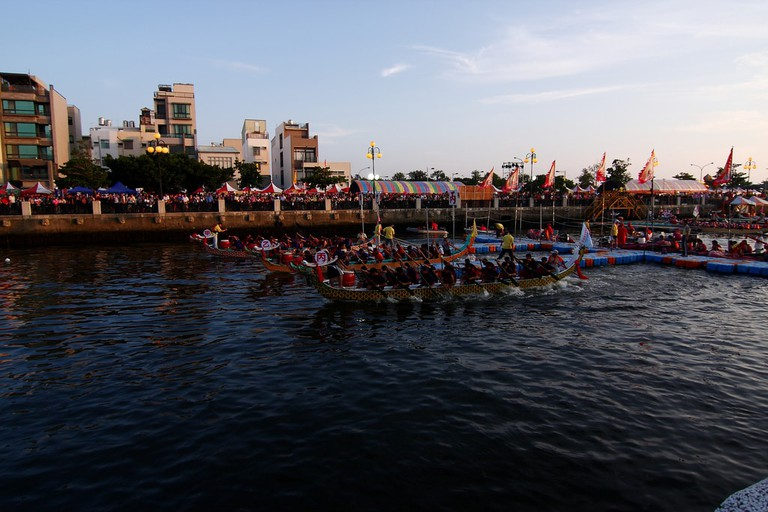Races along the historic canal in Tainan