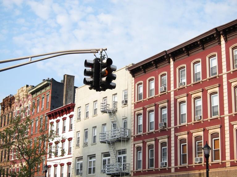 A street of homes in Hoboken, NJ.