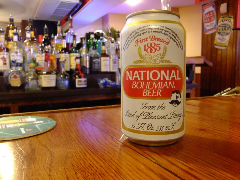A can of Natty Boh (National Bohemian) beer, the essential Baltimore beverage.