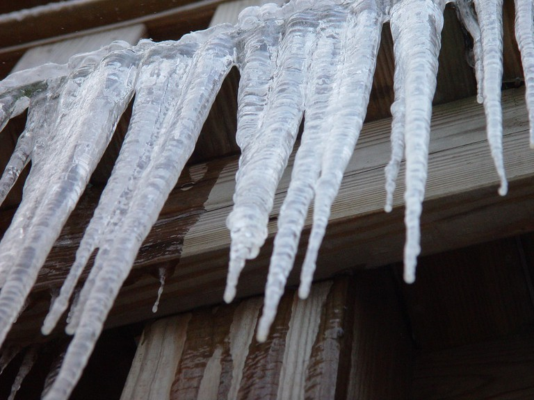 Icicles hanging from a building
