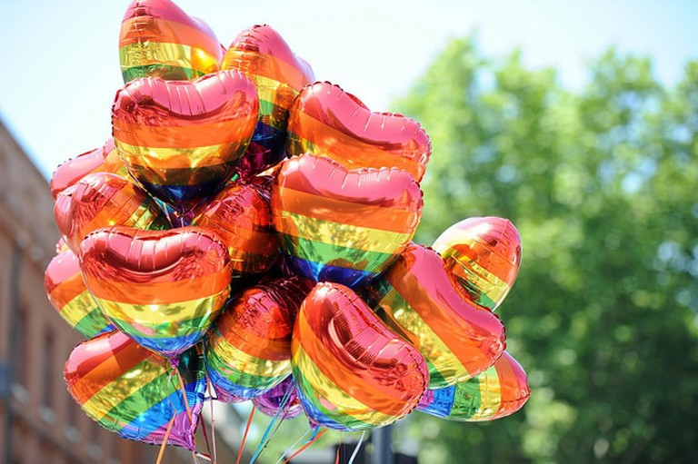 Rainbow balloons at a Pride event