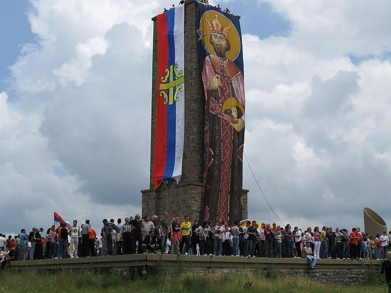A group of Serbs celebrate Vidovdan at Gazimestan in 2009