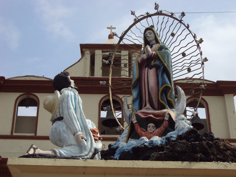 Religious statues outside the cathedral in Leon, Nicaragua