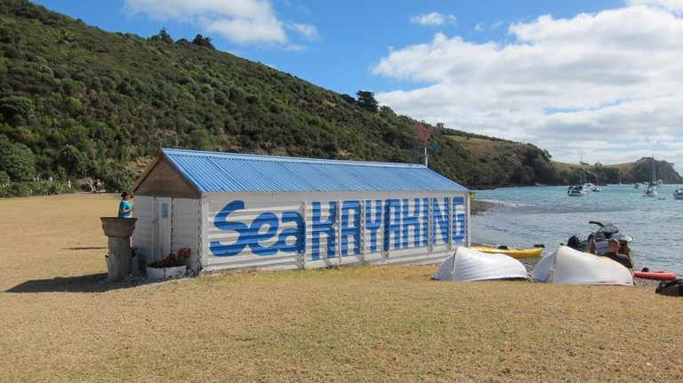 Sea kayaking shed on Auckland's Waiheke Island