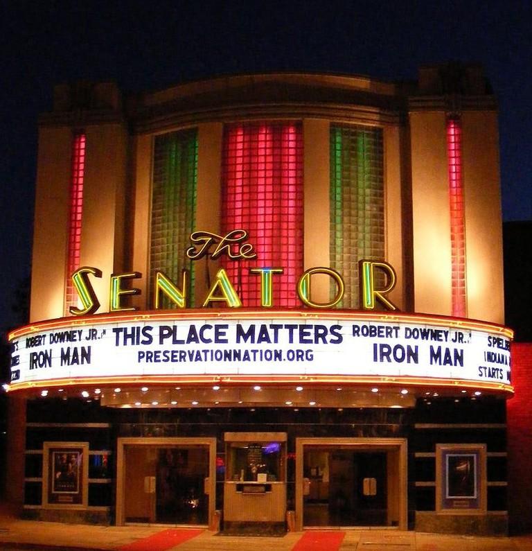 The exterior Art Deco design of The Senator Theatre, 2008