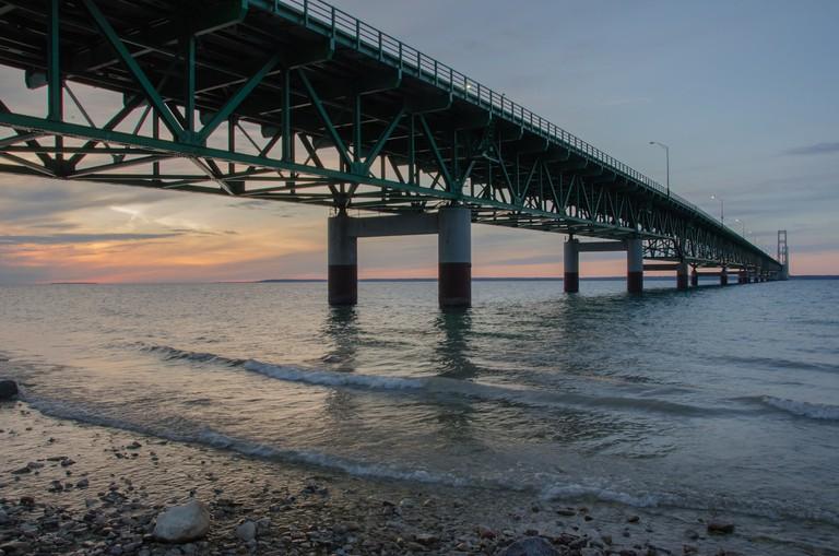 The Mackinac Bridge at sunset