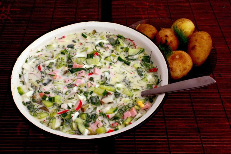 Okroshka, a soup made with kvass