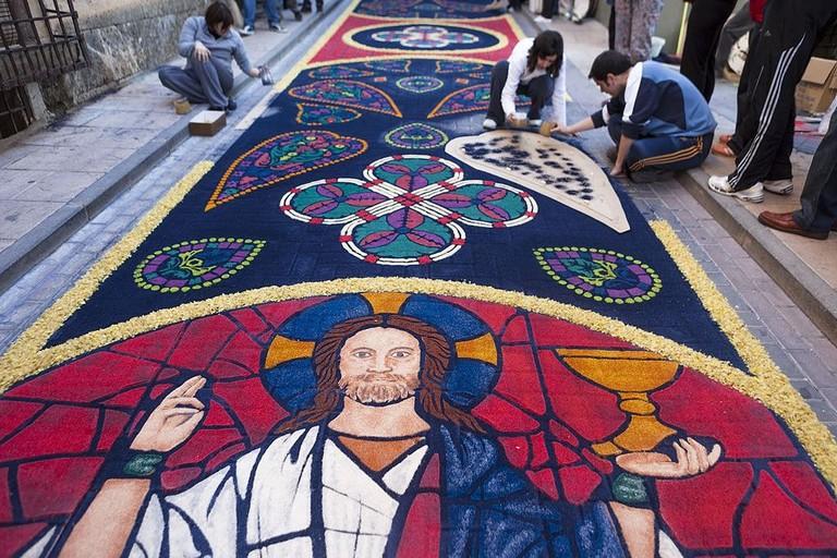 Corpus Christi carpets in Elche de la Sierra, Spain