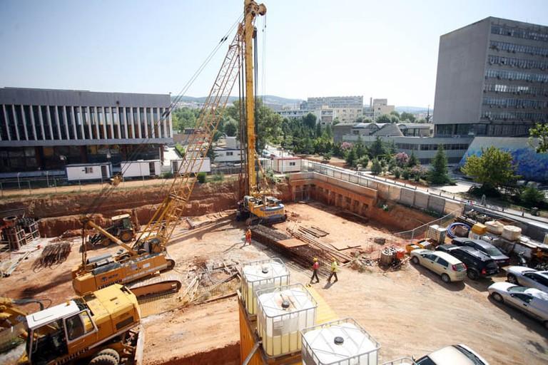 Panepistimio metro stop construction site, Thessaloniki
