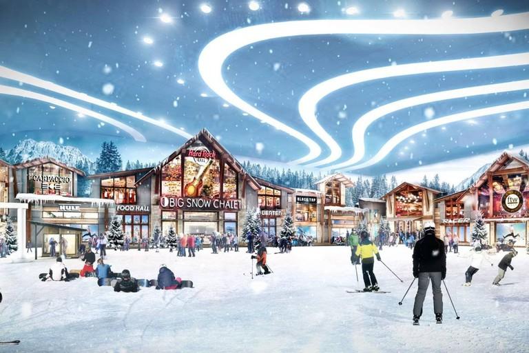 A rendering of the American Dream Miami's ski area