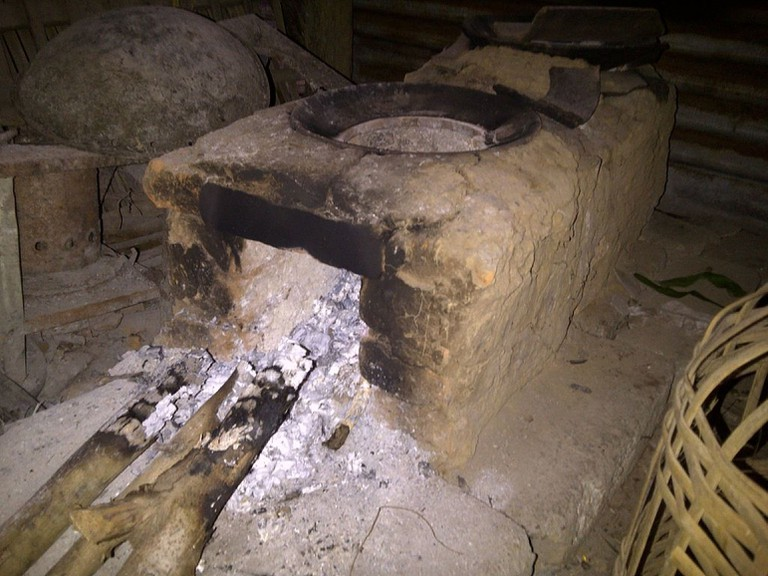 A brick stove used in some rural areas