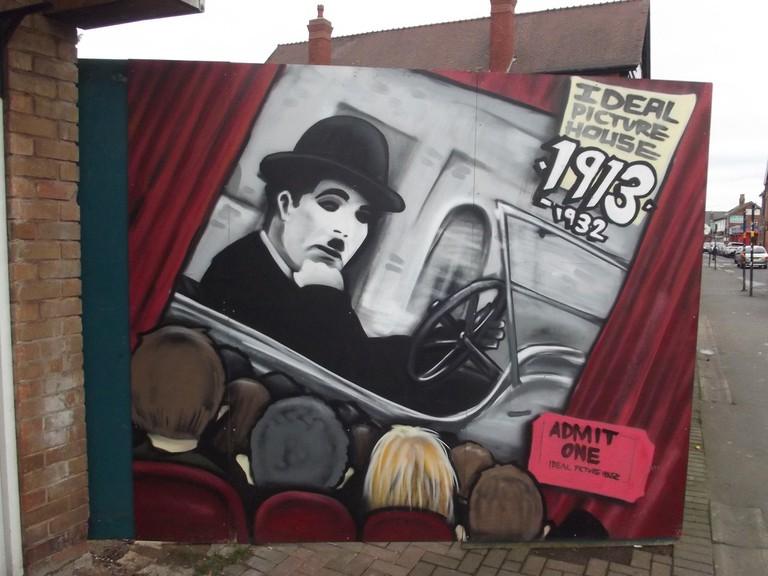 Charlie Chaplin mural in Kings Heath