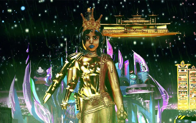 Chitra Ganesh, still from the digital animation titled 'Metropolis,' 2018