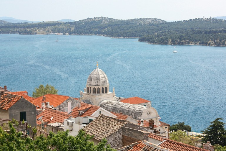 A view of the old town of Sibenik and the Adriatic Sea