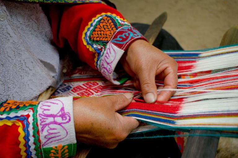 The Lares region still practices ancient weaving techniques