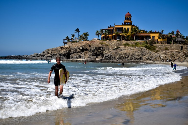 Playa Cerritos is great for beginners are intermediates