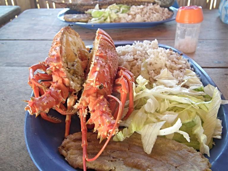 Fresh lobster in La Guajira