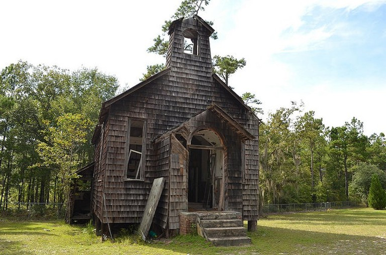 An abandoned church in the Francis Marion National Forest l