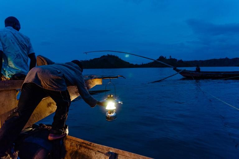 Fisherman on Lake Kivu, Kibuye, Rwanda