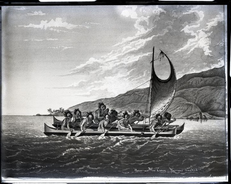 Hawaiian warriors with traditional helmets | © Public Domain