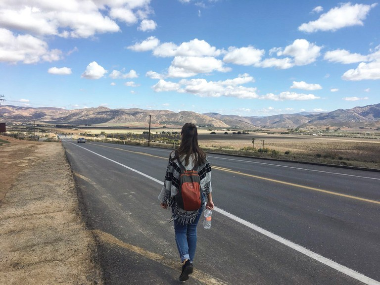 Walking to LA Cetto winery in the Valle de Guadalupe wine region, Mexico