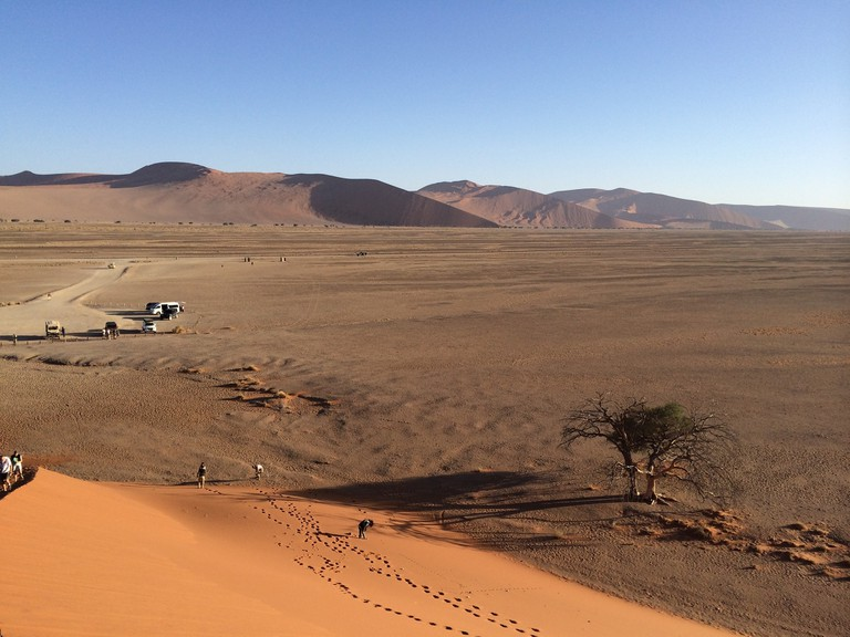 One of the activities you can experience at Swakopmund is dune climbing