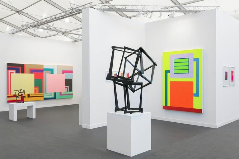 Installation view of artworks by Jedd Novatt and Peter Halley at Waddington Custot, Frieze New York 2018
